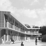 Entwurf – Grundschule in Kleinmachnow mit Außengalerie kompletter Holzbau